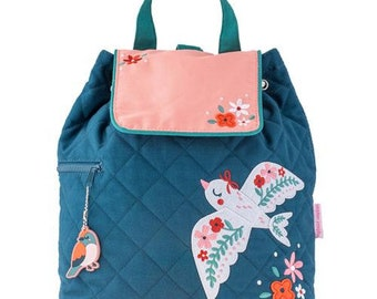 Personalized Monogrammed -New Pattern- Stephen Joseph Kid Quilted Pink Teal Bird Backpack Free Monogramming--Fast Turnaround