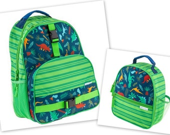Personalized Monogrammed Stephen Joseph All over print Green Dino Dinosaur Backpack and Lunch tote combo--Fast Turnaround--Free Monogramming