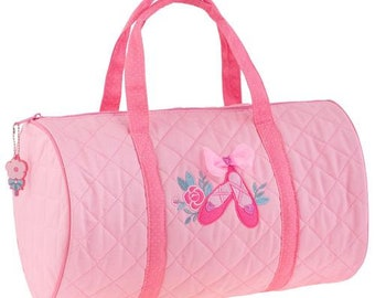 SHIPS NEXT DAY---Personalized Monogrammed Stephen Joseph Quilted Pink Ballet Slipper Duffle Bag Dance Travel Tote Bag --Free Monogramming