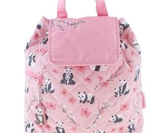 Personalized Monogrammed -New Pattern- Stephen Joseph Kid Quilted Pink Panda Backpack Free Monogramming--Fast Turnaround