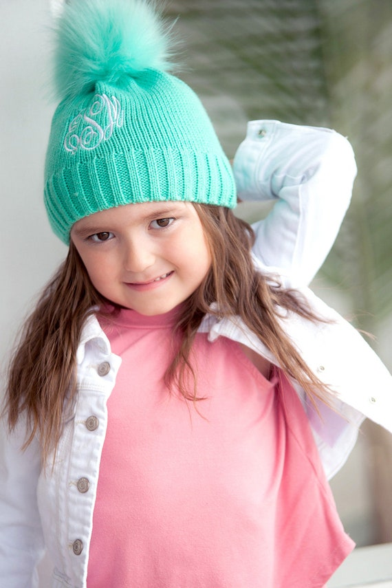 Personalized Monogrammed Kids Mint Bella Beanie HatFree  1c621e6f8904