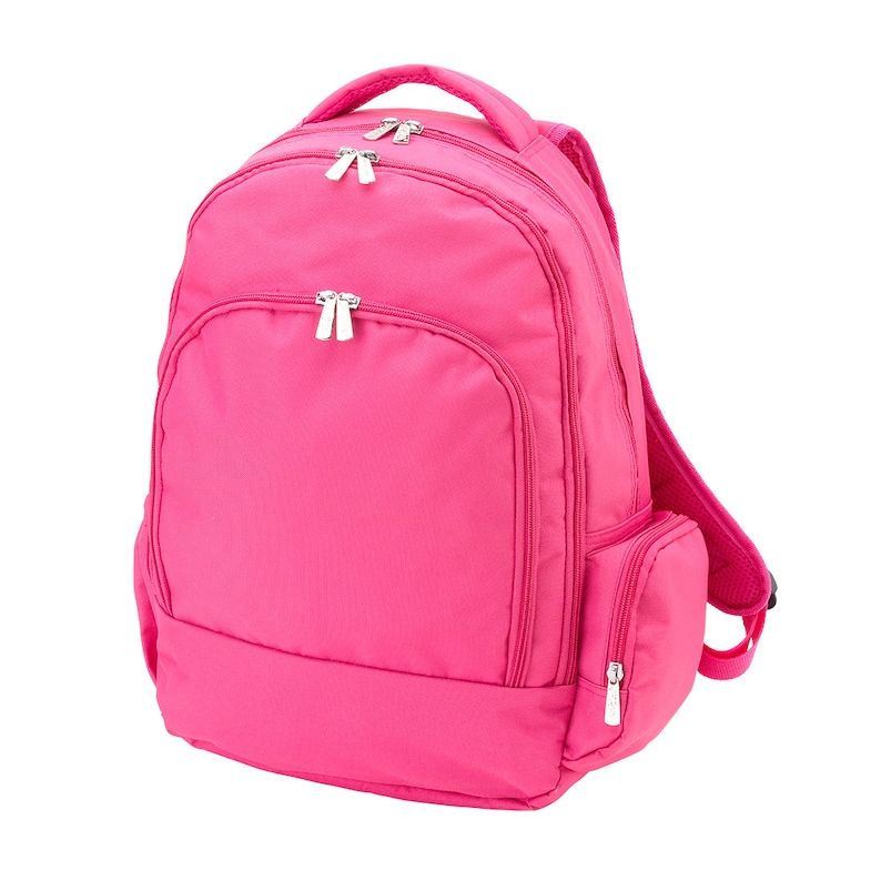 FAST TURNAROUND In Stock Personalized Monogrammed Solid Collection Hot Pink Backpack and Lunch Tote Box Set Free Monogramming-
