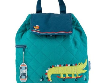 SHIPS NEXT DAY--Personalized Monogrammed New Pattern Stephen Joseph Kid Quilted Blue Lime Skateboard Alligator Backpack--Free Monogramming--