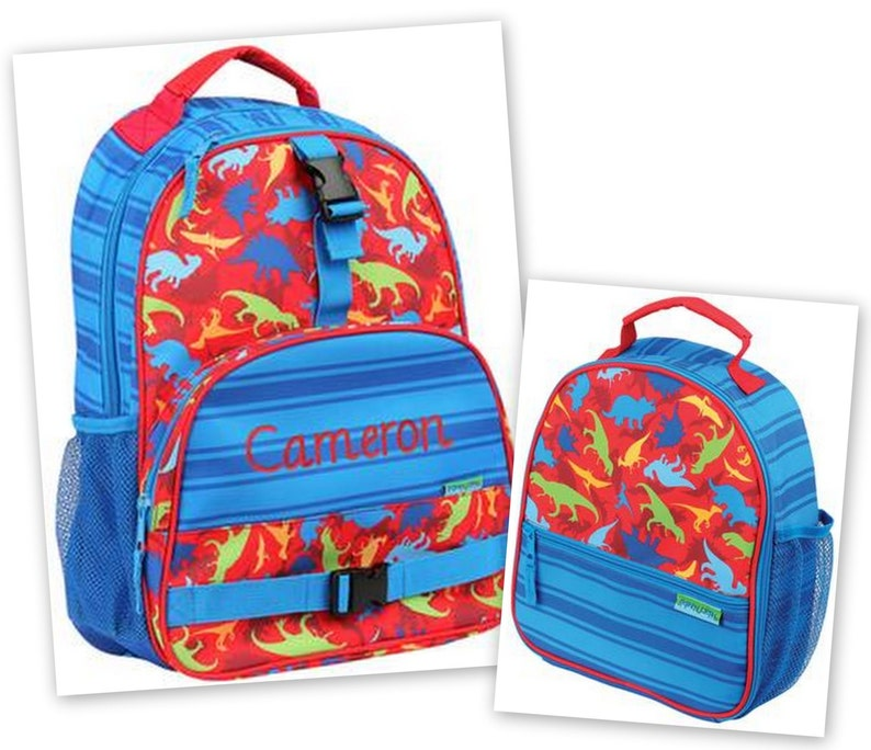 24f471fc6e14 Personalized Monogrammed Stephen Joseph All over print Dino Dinosaur  Backpack and Lunch tote combo--Fast Turnaround--Free Monogramming--