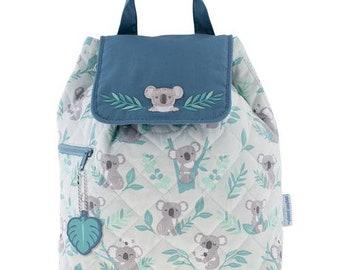 Personalized Monogrammed -New Pattern- Stephen Joseph Kid Quilted Gray Blue Koala Backpack Free Monogramming--Fast Turnaround