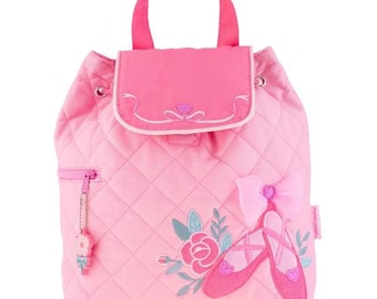 Personalized Monogrammed -New Pattern- Stephen Joseph Kid Quilted Pink Ballet Shoes Backpack Free Monogramming--Fast Turnaround
