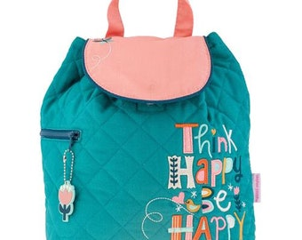 SHIPS NEXT DAY--Personalized Monogrammed --New Pattern-- Stephen Joseph Kid Quilted Think Happy Be Happy  Backpack--Free Monogramming--
