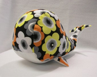 Stuffed Toy Whale in Black and Multi-Color Floral Print Cotton