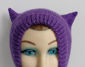Purple Vegan Kitty Cat Ears Balaclava Hand Knit Hood Hat Toddler Child  Youth Extra Small Adult Size 7d1a3365d3