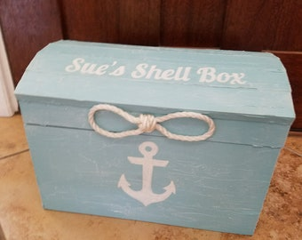 Personalized Aqua Blue Whitewash Nautical Themed Beach Wedding Card Box Holder Treasure Chest Unity Sailors Rope Handles Hand Painted Anchor