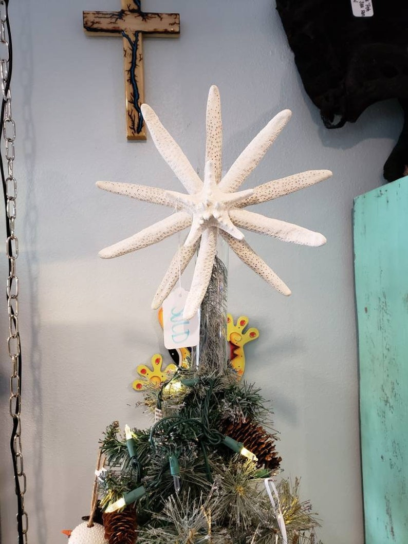 Coastal Large Star Tree Topper White Christmas Natural Glitter image 0