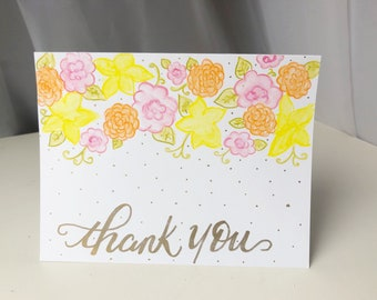 Floral and Gold thank you