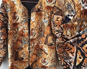 Marie Studer Designs Jungle Cat Quilted Wearable Art Jacket Lion Tiger Leopard Cheetah Batik Print