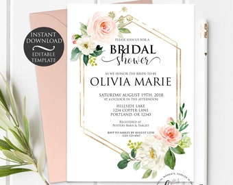 Floral Bridal Shower Invitation Template   Editable Instant Download
