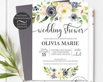 Blue Floral Wedding Shower Invitation Template   Editable Instant Download