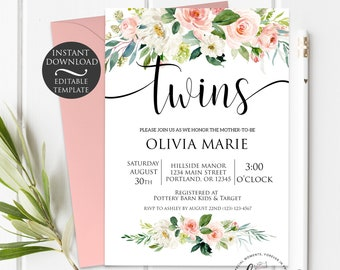 Floral Twins Baby Shower Invitation Template | Editable Instant Download