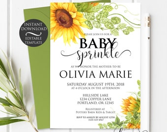 Floral Baby Sprinkle Invitation Template   Editable Instant Download