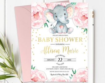 Elephant Baby Shower Invitation - Baby Shower Invitation Girl - Girl Baby Shower Invite - Baby Girl Invitation - Confetti Baby - Floral Baby