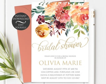 Fall Bridal Shower Invitation Etsy - Fall bridal shower invitation templates