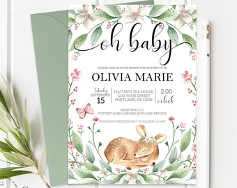 Oh Baby Shower Invitation Girl - Oh Deer Baby Shower Invite - Girl Baby Shower Invite - Baby Girl Invitation