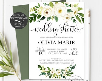 Wedding Shower Invitation Template   Editable Instant Download