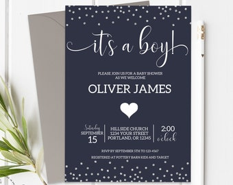 Boy Baby Shower Invitation Printable Confetti Baby Shower Invite