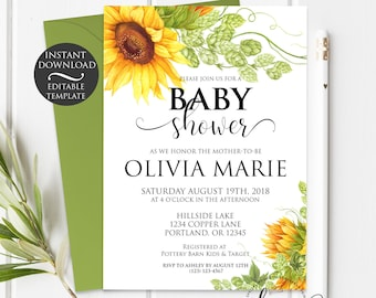 Floral Baby Shower Invitation Template   Editable Instant Download