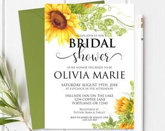 Sunflower Bridal Shower Invitation Summer Bridal Invite