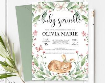 Spring Baby Sprinkle Invitation Girl Baby Shower Invite