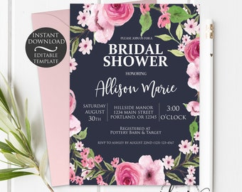 Boho Bridal Shower Invitation Template   Editable Instant Download