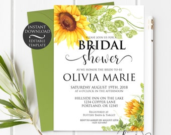 Summer Bridal Shower Invitation Template   Editable Instant Download