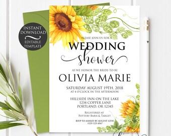 Floral Wedding Shower Invitation Template   Editable Instant Download