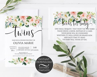 Floral Twins Baby Shower Invitation Set | Editable Instant Download
