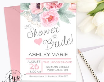Shower The Bride Invitation Wedding Shower Invitation