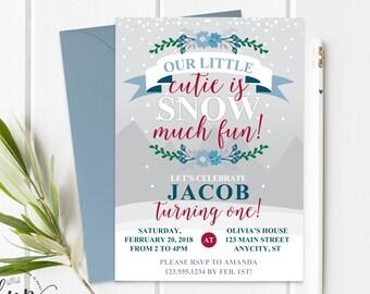 Boy 1st Birthday Invitation Printable Onederland Invitation