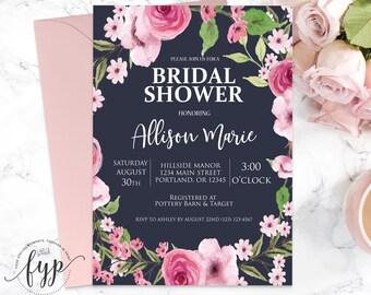Floral Bridal Shower Invitation Navy