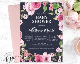 Floral Baby Shower Invitation Girl Printable