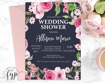 Floral Wedding Shower Invitation Navy