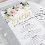 Floral Menu Card Template   Editable Menu Card Instant Download