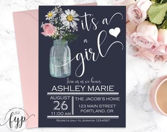 Baby Shower Invitation Girl Printable Baby Shower Invite Girl Baby Shower Mason Jar Invitation Baby Girl Shower Printed Floral Invitation