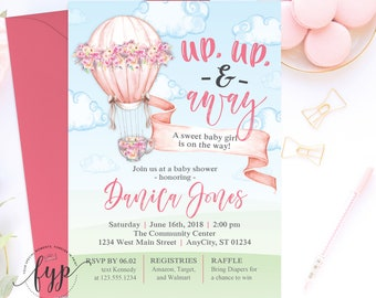 Up Up and Away Baby Shower Invitation, Hot Air Balloon Baby Shower Invite, Baby Shower Invitation Girl, Hot Air Balloon Invitation,Baby Girl