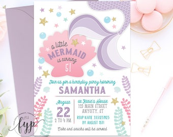 Mermaid Invitation Mermaid Birthday Invitation