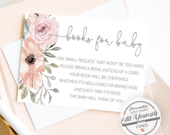 Book Request Card Floral Books For the Baby, Greenery Baby Shower   Editable Instant Download
