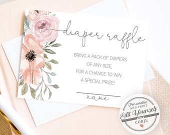 Floral Diaper Raffle Ticket, Diaper Raffle Cards   Editable Baby Shower Game