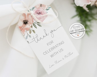 Wedding Thank You Tag Template, 100% Editable Text, Favor Tag, TRY BEFORE You BUY, Printable Gift Tag