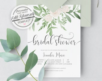 greenery bridal shower invitation template editable instant download