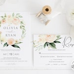 Floral Wedding Invitation Set Template, Burgundy Wedding Invitation Printable Wedding Invite, TRY BEFORE You BUY, Edit Yourself