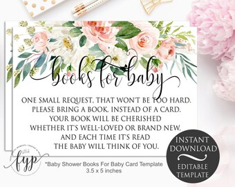 Book Request Card Floral Bring A Book Insert Template   Editable Instant Download