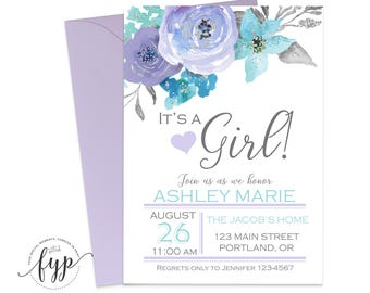 Lavender baby shower etsy its a girl baby shower invitation girl baby shower invite floral baby shower baby girl invites lavender baby shower shabby chic filmwisefo