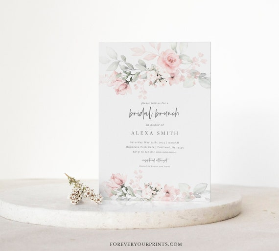 Gold and Green Leaf Bridal Brunch Invitation Bridesmaid Luncheon Bridal Luncheon Invitation Instant Download DIY Printable Editable